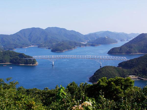 12.龍観山展望台から若松大橋を望む